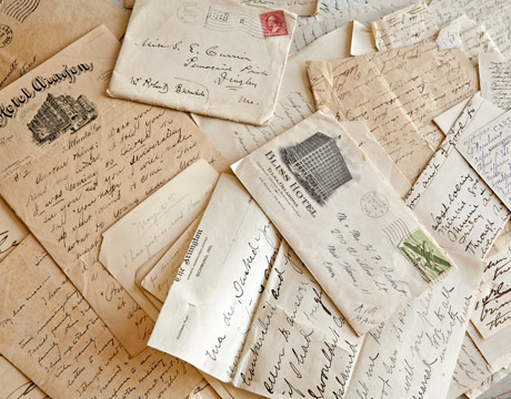 postcards and handwritten letters